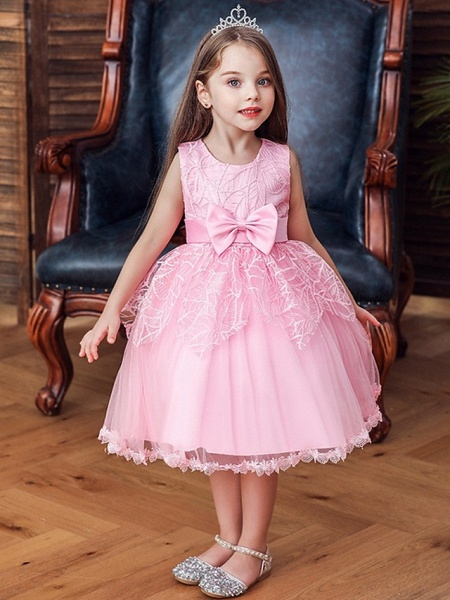 Princess / Ball Gown Floor Length Wedding / Party Flower Girl Dresses - Tulle Sleeveless Jewel Neck With Sash / Ribbon / Bow(S)_1