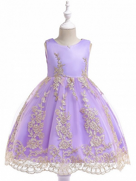 Princess / Ball Gown Knee Length Wedding / Party Flower Girl Dresses - Tulle Sleeveless Jewel Neck With Bow(S) / Appliques_8