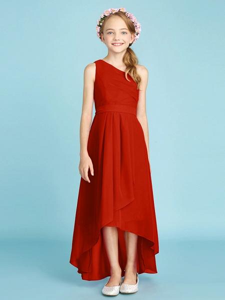 A-Line One Shoulder Asymmetrical Chiffon Junior Bridesmaid Dress With Sash / Ribbon / Bow(S) / Side Draping / Natural_17