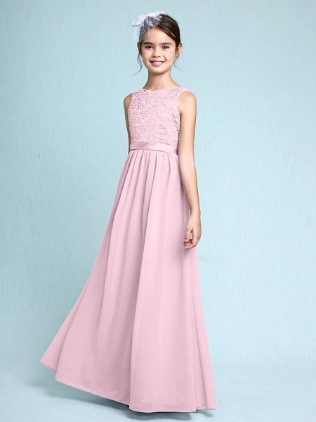 Sheath / Column Bateau Neck Floor Length Chiffon / Lace Junior Bridesmaid Dress With Lace / Natural_11