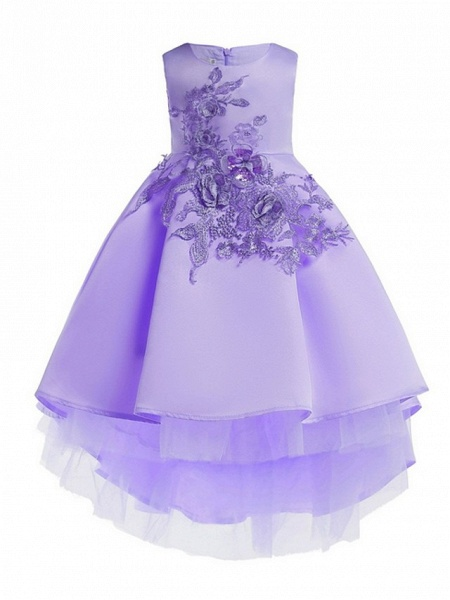 Ball Gown Ankle Length Pageant Flower Girl Dresses - Polyester Sleeveless Jewel Neck With Appliques_3
