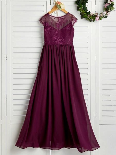 A-Line V Neck Maxi Chiffon / Lace Junior Bridesmaid Dress With Appliques_2
