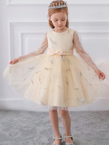 Princess / Ball Gown Knee Length Wedding / Party Flower Girl Dresses - Tulle Long Sleeve Jewel Neck With Sash / Ribbon / Bow(S) / Pattern / Print_2