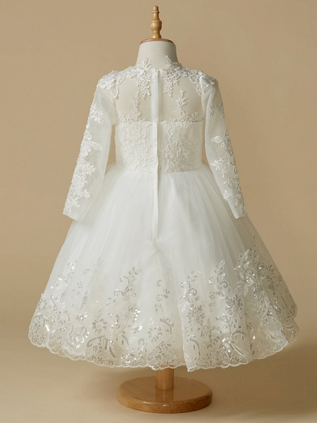 Princess Knee Length Wedding / First Communion Flower Girl Dresses - Lace / Tulle Long Sleeve Jewel Neck With Lace / Appliques_2