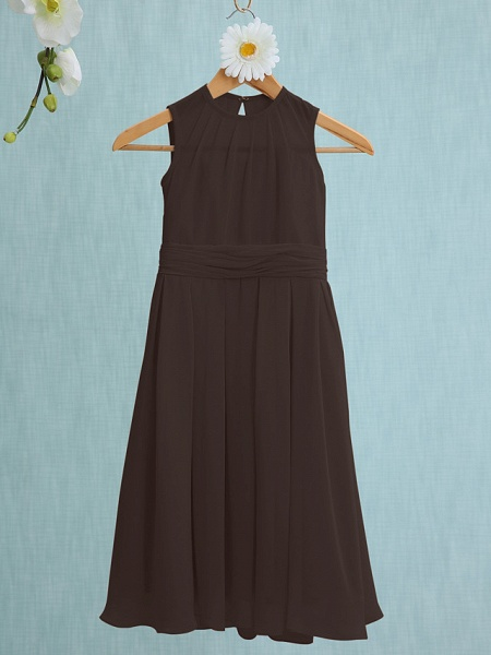 Sheath / Column Jewel Neck Knee Length Chiffon Junior Bridesmaid Dress With Ruched / Natural_22