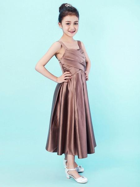 Princess / A-Line Straps / Sweetheart Neckline Tea Length Satin Junior Bridesmaid Dress With Criss Cross / Draping / Spring / Summer / Fall / Apple / Hourglass_2
