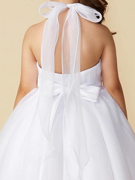 A-Line Asymmetrical Wedding / First Communion Flower Girl Dresses - Organza Sleeveless Halter Neck With Bow(S) / Pleats_6