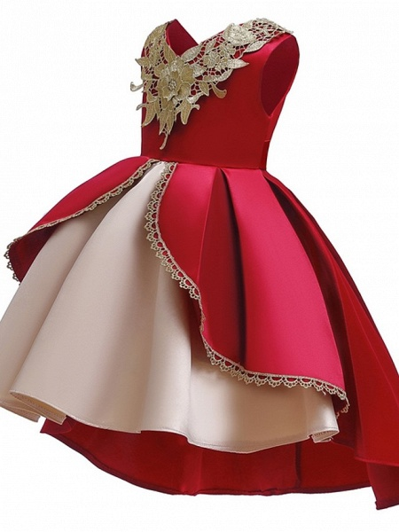 Ball Gown Ankle Length Pageant Flower Girl Dresses - Polyester Sleeveless V Neck With Appliques_4