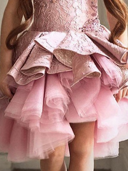 Ball Gown Asymmetrical Pageant Flower Girl Dresses - Polyester Sleeveless Jewel Neck With Cascading Ruffles_3