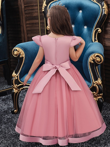 A-Line Ankle Length Wedding / Party / Pageant Flower Girl Dresses - Tulle / Matte Satin / Poly&Cotton Blend Short Sleeve Jewel Neck With Pattern / Print / Solid_6