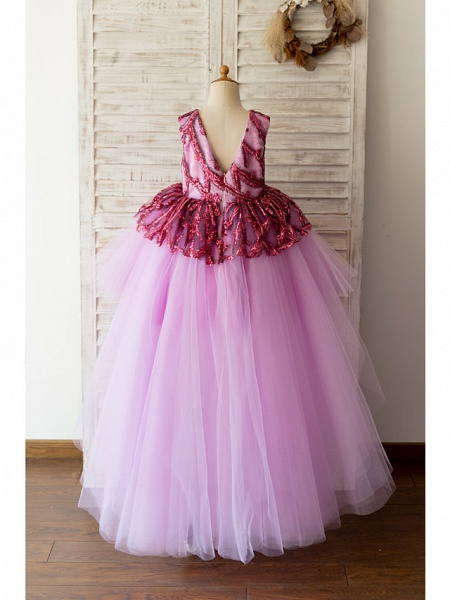 Ball Gown Asymmetrical Wedding / Birthday Flower Girl Dresses - Tulle Sleeveless Jewel Neck With Paillette_2