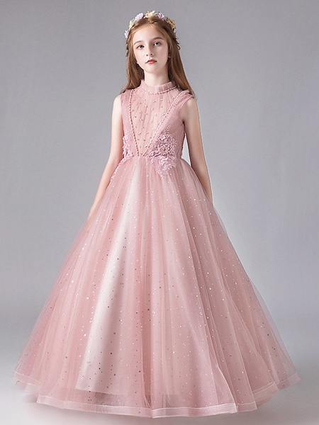 Princess / Ball Gown Floor Length Wedding / Party Flower Girl Dresses - Tulle / Polyester / Cotton Blend 3/4 Length Sleeve Jewel Neck With Appliques / Tiered_1