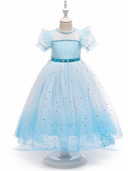 Princess / A-Line Floor Length Wedding / Party Flower Girl Dresses - Tulle Short Sleeve Jewel Neck With Paillette_3