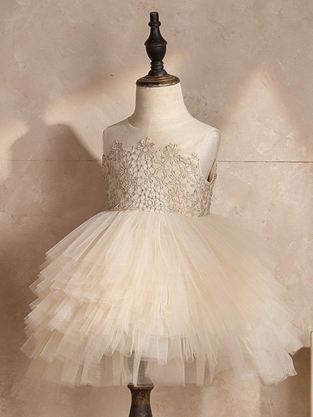 Ball Gown Knee Length Pageant Flower Girl Dresses - Polyester Sleeveless Jewel Neck With Pick Up Skirt / Appliques_5