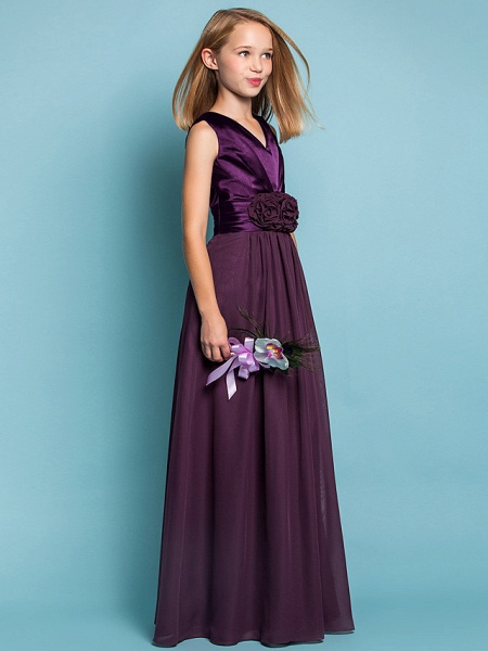 Sheath / Column V Neck Floor Length Chiffon Junior Bridesmaid Dress With Flower / Spring / Summer / Fall / Apple / Hourglass_2