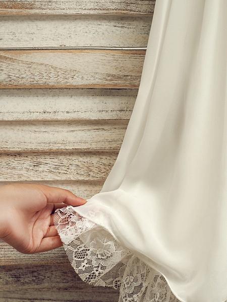 A-Line Tea Length Wedding / First Communion / Holiday Flower Girl Dresses - Lace / Satin Chiffon Sleeveless Jewel Neck With Sash / Ribbon_8
