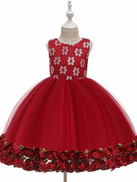 Princess / Ball Gown Knee Length Wedding / Party Flower Girl Dresses - Tulle Sleeveless Jewel Neck With Bow(S) / Pattern / Print / Flower_7