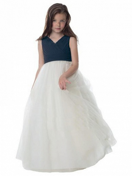A-Line Floor Length Wedding / Party Flower Girl Dresses - Chiffon / Tulle Sleeveless V Neck With Ruching_1