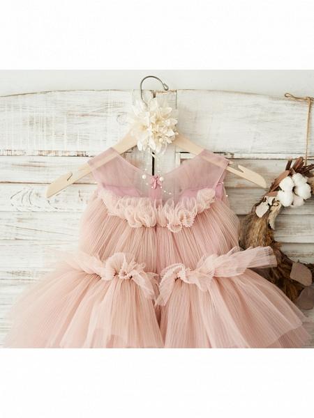 Ball Gown Knee Length Wedding / Birthday Flower Girl Dresses - Tulle Sleeveless V Neck With Belt / Pearls_4