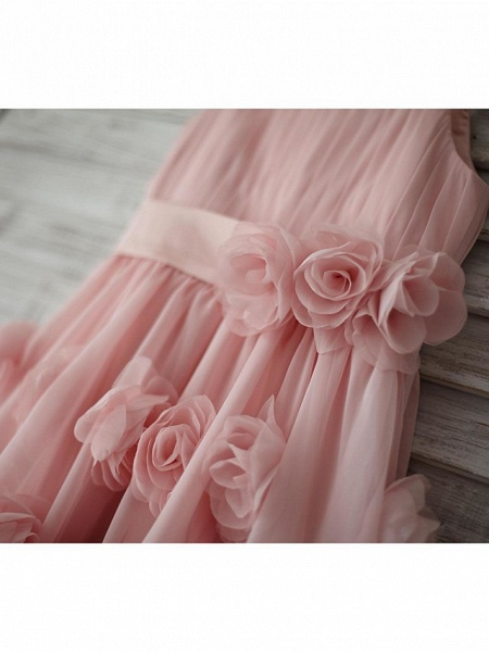A-Line Knee Length Holiday Flower Girl Dresses - Chiffon Sleeveless Straps With Sash / Ribbon / Bow(S) / Draping_6