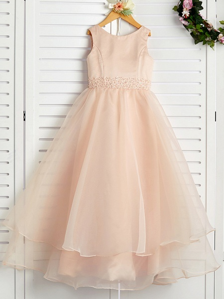 A-Line Jewel Neck Ankle Length Organza / Satin Junior Bridesmaid Dress With Beading / Tier_1