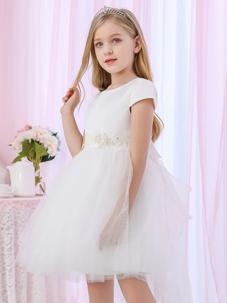 Princess / Ball Gown Medium Length Wedding / Event / Party Flower Girl Dresses - Satin / Tulle Cap Sleeve Jewel Neck With Beading / Appliques / Color Block_4