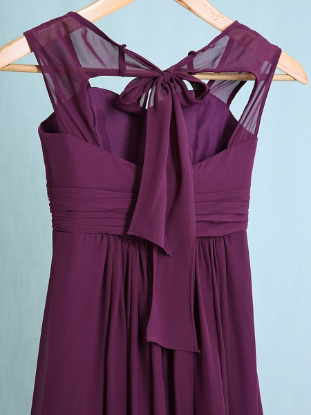 Sheath / Column Straps Ankle Length Chiffon Junior Bridesmaid Dress With Ruched / Natural_6