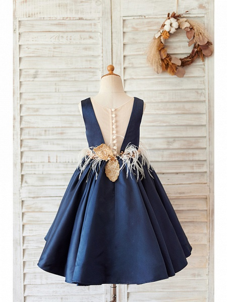 Ball Gown Knee Length Wedding / Birthday Flower Girl Dresses - Satin Sleeveless V Neck With Feathers / Fur / Beading_2