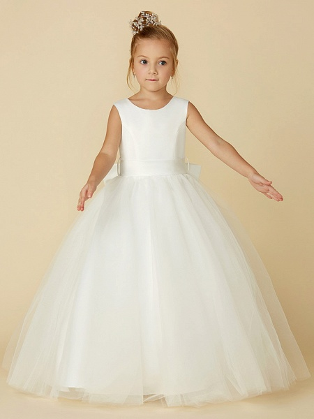 A-Line Floor Length Wedding / First Communion Flower Girl Dresses - Satin / Tulle Sleeveless Jewel Neck With Bow(S) / Buttons_6