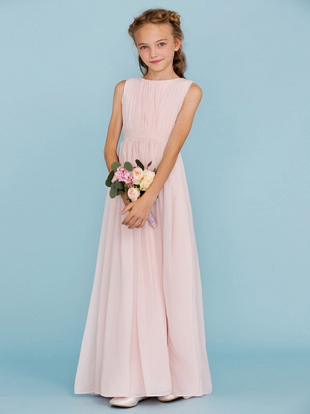 Sheath / Column Crew Neck Floor Length Chiffon Junior Bridesmaid Dress With Sash / Ribbon / Draping / Split Front / Wedding Party / Furcal_4
