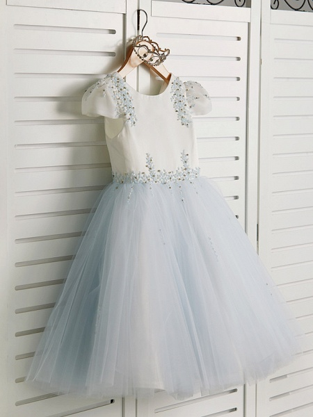 Princess Tea Length Wedding / Birthday / Pageant Flower Girl Dresses - Satin / Tulle Cap Sleeve Jewel Neck With Beading_3
