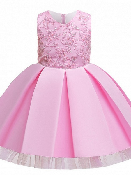 Princess / Ball Gown Knee Length Wedding / Party Flower Girl Dresses - Tulle Sleeveless V Neck With Sash / Ribbon / Bow(S) / Appliques_8