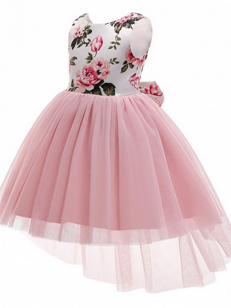 Princess / Ball Gown Asymmetrical Wedding / Party Flower Girl Dresses - Tulle / Mikado Sleeveless Jewel Neck With Bow(S) / Pattern / Print_2