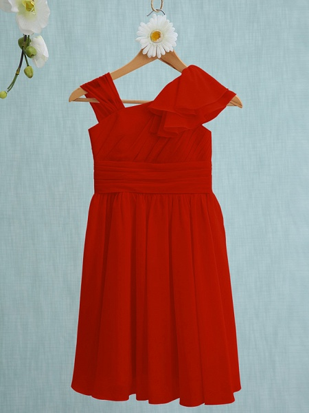 Sheath / Column Straps Knee Length Chiffon Junior Bridesmaid Dress With Ruffles / Side Draping / Natural_13
