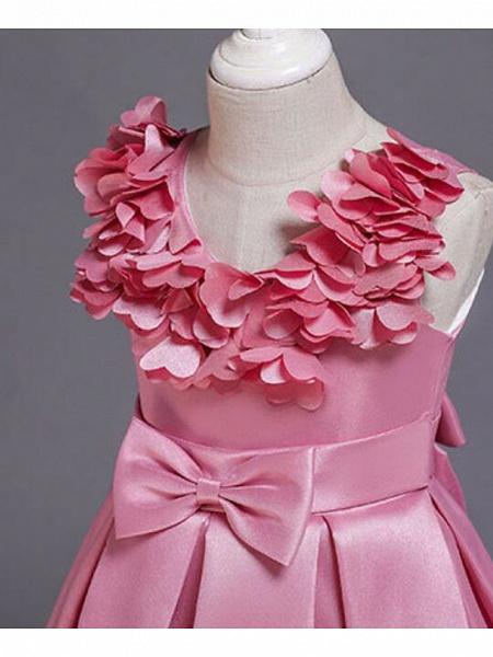 Princess Knee Length Wedding / Party / Pageant Flower Girl Dresses - Satin / Cotton Sleeveless Jewel Neck With Petal / Belt / Bow(S)_14