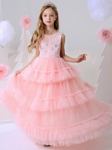 Ball Gown Floor Length Party / Birthday Flower Girl Dresses - Polyester Sleeveless Jewel Neck With Beading_1