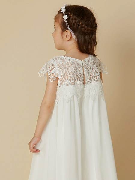 Sheath / Column Knee Length Wedding / First Communion / Holiday Flower Girl Dresses - Chiffon / Lace Short Sleeve Scoop Neck With Lace_6