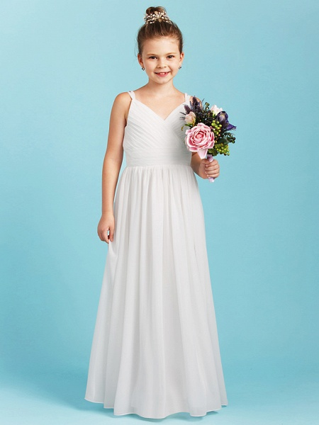 Princess / A-Line Spaghetti Strap Floor Length Chiffon Junior Bridesmaid Dress With Sash / Ribbon / Criss Cross / Wedding Party / Open Back_1