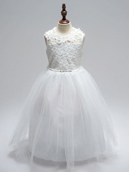 Ball Gown Floor Length Wedding / First Communion Flower Girl Dresses - Lace / Tulle Sleeveless Jewel Neck With Sash / Ribbon / Bow(S) / Appliques / Open Back_1