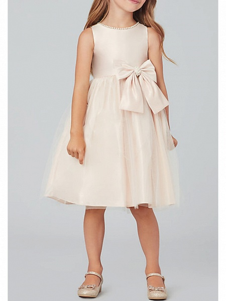 A-Line Knee Length Wedding / Party Flower Girl Dresses - Satin / Taffeta / Tulle Sleeveless Jewel Neck With Bow(S) / Solid_2