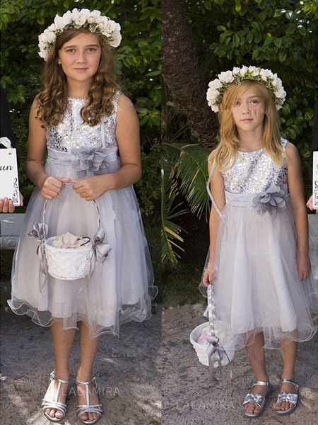 A-Line Knee Length Wedding / Party Flower Girl Dresses - Tulle / Sequined Sleeveless Jewel Neck With Appliques / Paillette_1