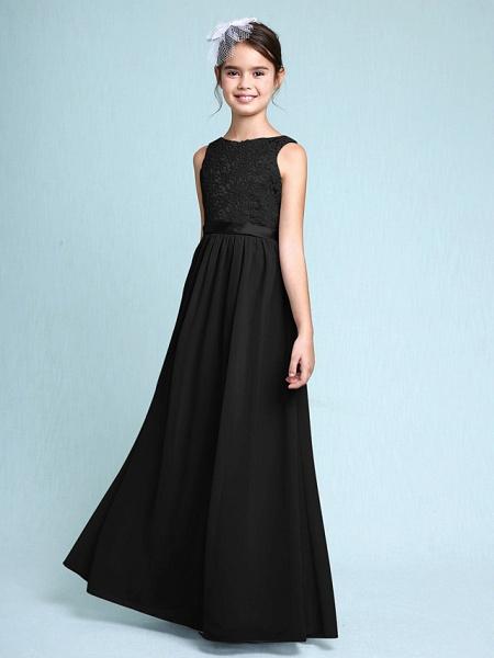 Sheath / Column Bateau Neck Floor Length Chiffon / Lace Junior Bridesmaid Dress With Lace / Natural_39