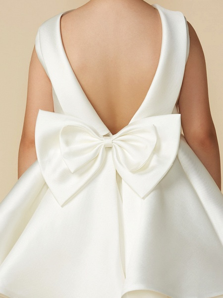 Princess Above Knee Wedding / First Communion Satin Sleeveless Jewel Neck With Bows_5