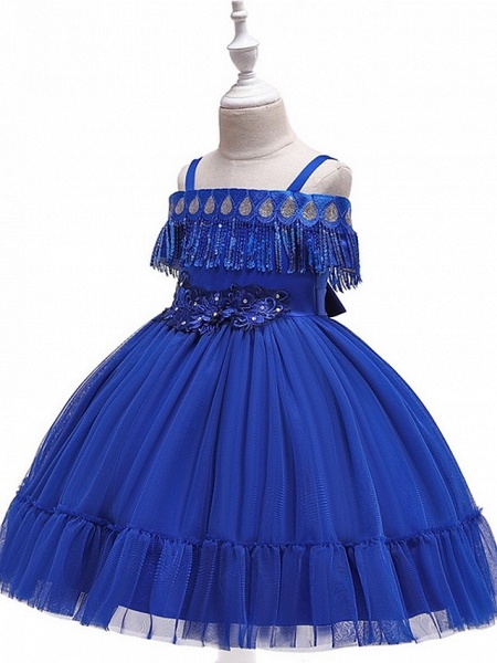 Princess / Ball Gown Knee Length Wedding / Party Flower Girl Dresses - Tulle Short Sleeve Off Shoulder With Bow(S) / Pleats / Beading_7