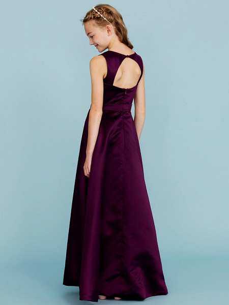 A-Line Jewel Neck Floor Length Satin Junior Bridesmaid Dress With Sash / Ribbon / Wedding Party / Open Back_2
