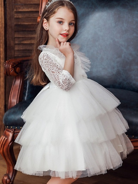 Princess / Ball Gown Knee Length Wedding / Party Flower Girl Dresses - Tulle 3/4 Length Sleeve Jewel Neck With Bow(S) / Beading / Cascading Ruffles_2