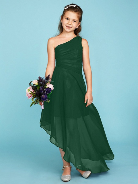 A-Line One Shoulder Asymmetrical Chiffon Junior Bridesmaid Dress With Side Draping / Wedding Party_43