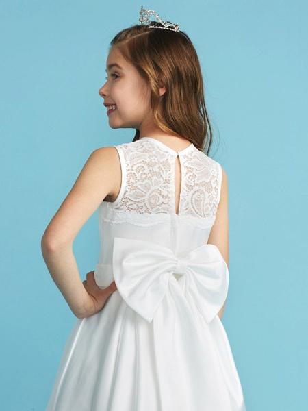 Princess / A-Line Jewel Neck Floor Length Lace / Satin Junior Bridesmaid Dress With Lace / Bow(S) / Pleats_7