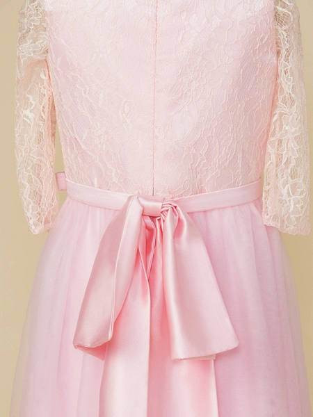A-Line Jewel Neck Tea Length Lace / Tulle Junior Bridesmaid Dress With Bow(S) / Wedding Party_5