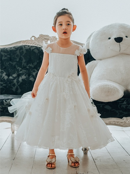 Ball Gown Tea Length Wedding / First Communion / Birthday Flower Girl Dresses - Lace Cap Sleeve Jewel Neck With Petal / Buttons / Pearls_1